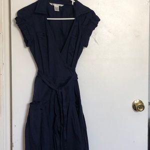 Navy blue tie dress w/ pockets